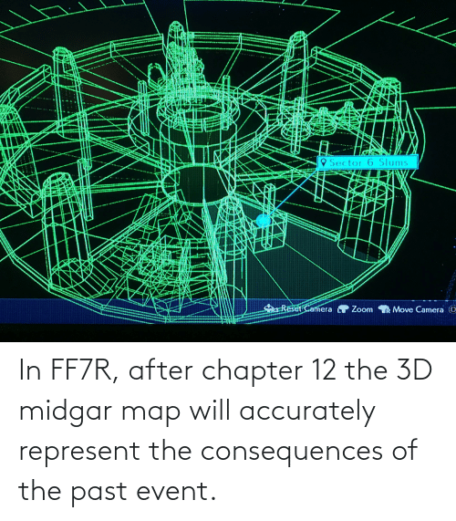 Consequences: In FF7R, after chapter 12 the 3D midgar map will accurately represent the consequences of the past event.