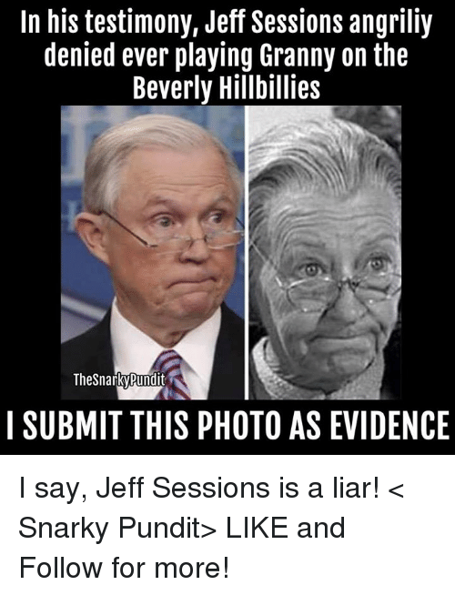 pundit: In his testimony, Jeff Sessions angriliy  denied ever playing Granny on the  Beverly Hillbillies  TheSnarkyRundit  I SUBMIT THIS PHOTO AS EVIDENCE I say, Jeff Sessions is a liar! < Snarky Pundit> LIKE and Follow for more!