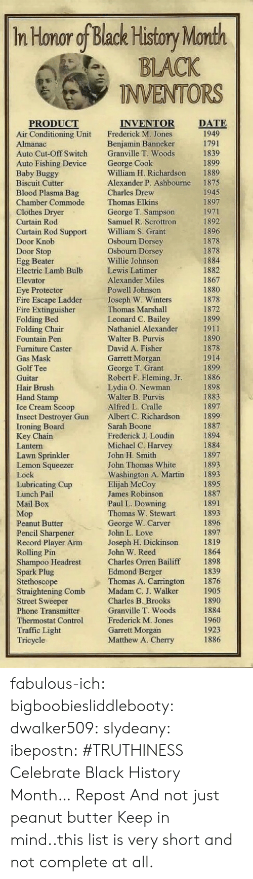 Newman: In Honor of Black History Month  BLACK  INVENTORS  DATE  PRODUCT  Air Conditioning Unit  Auto Cut-Off Switch  Auto Fishing Device  Baby Buggy  Biscuit Cutter  Blood Plasma Bag  Chamber Commode  INVENTOR  Frederick M. Jones  Benjamin Banneker  Granville T. Woods  George Cook  William H. Richardson  Alexander P. Ashbourne  1889  1875  1945  ew  Thomas Elkins  George T. Sampson  Samuel R. Scrottron  William S. Grant  Osbourn Dorsey  Osbourn Dorsey  Willie Johnson  Lewis Latimer  Alexander Miles  Powell Johnson  Joseph W. Winters  Thomas Marshall  Leonard C. Bailey  Nathaniel Alexander  Walter B. Purvis  David A. Fisher  Garrett Morgan  George T. Grant  Robert F. Fleming, Jr  Lydia O. Newman  Walter B. Purvis  Alfred L. Cralle  Albert C. Richardson  Sarah Boone  Frederick J. Loudin  Michael C. Harvey  John H. Smith  John Thomas White  Washington A. Martin  Elijah McCoy  James Robinson  Paul L. Downing  Thomas W. Stewart  George W. Carver  John L. Love  Joseph H. Dickinsorn  John W. Reed  Charles Orren Bailiff  Edmond Berger  Thomas A. Carrington  Curtain Rod Support  1878  Egg Beater  Electric Lamb Bulb  Eye Protector  Fire Escape Ladder  Fire Extinguisher  Folding Bed  1867  1878  1899  ir  Fountain Pen  Furniture Caster  1878  1899  1898  1897  Hand Stamp  Insect Destroyer Gun  Key Chain  Lawn Sprinkler  1897  Lemon Squeezer  1893  Lubricating Cup  Мор  Peanut Butter  Pencil Sharpener  Record Player Arm  Shampoo Headrest  Spark Plug  Stethoscope  Straightening Comb  Street Sweeper  Phone Transmitter  Thermostat Control  Traffic Light  1898  1876  1905  Madam C. J. Walke  Charles B. Brooks  Granville T. Woods  Frederick M. Jones  Garrett Morgan  Matthew A. Cherry  1960  1923  1886  ric fabulous-ich:  bigboobiesliddlebooty:  dwalker509:  slydeany:  ibepostn:  #TRUTHINESS  Celebrate Black History Month…  Repost  And not just peanut butter  Keep in mind..this list is very short and not complete at all.