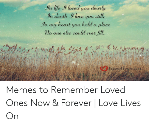 Love Of My Life Meme: In life loved you dearly  In death9 love you still:  In my heart you hold a place  γ o one else could ever fill.  n ufe  caovetiveson Memes to Remember Loved Ones Now & Forever | Love Lives On
