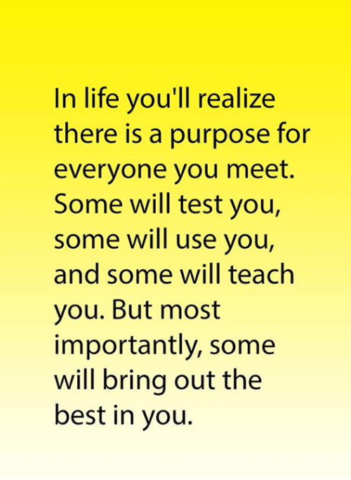 test-you: In life you'll realize  there is a purpose for  everyone you meet.  Some will test you,  some will use you,  and some will teach  you. But most  importantly, some  will bring out the  best in you.