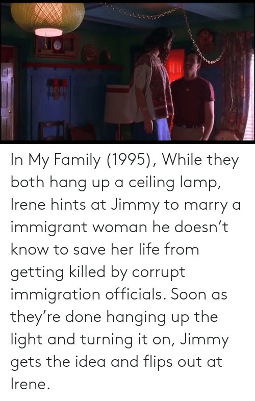 Flips: In My Family (1995), While they both hang up a ceiling lamp, Irene hints at Jimmy to marry a immigrant woman he doesn't know to save her life from getting killed by corrupt immigration officials. Soon as they're done hanging up the light and turning it on, Jimmy gets the idea and flips out at Irene.