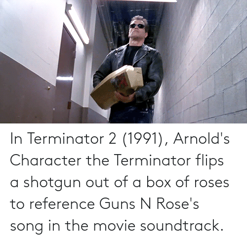 Flips: In Terminator 2 (1991), Arnold's Character the Terminator flips a shotgun out of a box of roses to reference Guns N Rose's song in the movie soundtrack.