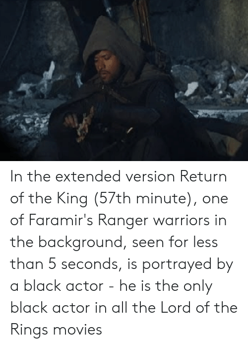 Movies, The Lord of the Rings, and Black: In the extended version Return of the King (57th minute), one of Faramir's Ranger warriors in the background, seen for less than 5 seconds, is portrayed by a black actor - he is the only black actor in all the Lord of the Rings movies