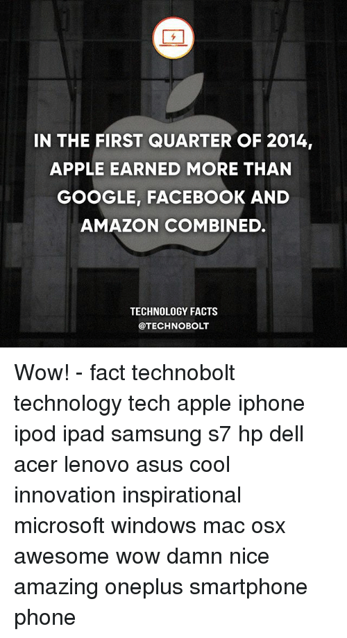 Amazon, Apple, and Dell: IN THE FIRST QUARTER OF 2014,  APPLE EARNED MORE THAN  GOOGLE, FACEBOOK AND  AMAZON COMBINED.  TECHNOLOGY FACTS  @TECHNOBOLT Wow! - fact technobolt technology tech apple iphone ipod ipad samsung s7 hp dell acer lenovo asus cool innovation inspirational microsoft windows mac osx awesome wow damn nice amazing oneplus smartphone phone