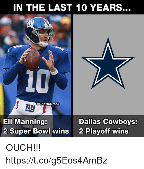 Dallas Cowboys, Eli Manning, and Super Bowl: IN THE LAST 10 YEARS.  10  @GhettoGronk  Eli Manning:  2 Super Bowl wins  Dallas Cowboys  2 Playoff wins OUCH!!! https://t.co/g5Eos4AmBz