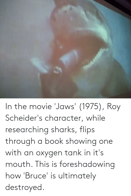 Flips: In the movie 'Jaws' (1975), Roy Scheider's character, while researching sharks, flips through a book showing one with an oxygen tank in it's mouth. This is foreshadowing how 'Bruce' is ultimately destroyed.