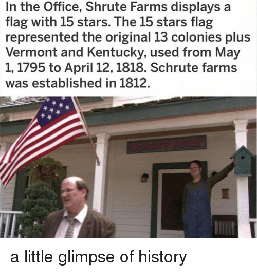 Memes, The Office, and History: In the Office, Shrute Farms displays a  flag with 15 stars. The 15 stars flag  represented the original 13 colonies plus  Vermont and Kentucky, used from May  1,1795 to April 12,1818. Schrute farms  was established in 1812. a little glimpse of history