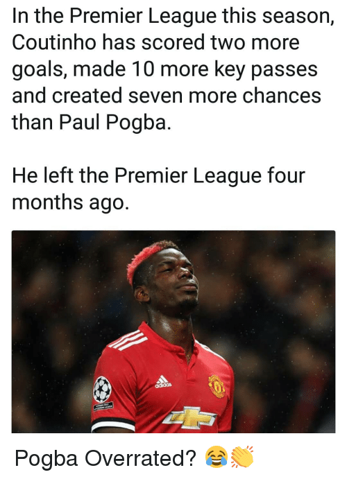 paul pogba: In the Premier League this season,  Coutinho has scored two more  goals, made 10 more key passes  and created seven more chances  than Paul Pogba  He left the Premier League four  months ago. Pogba Overrated? 😂👏