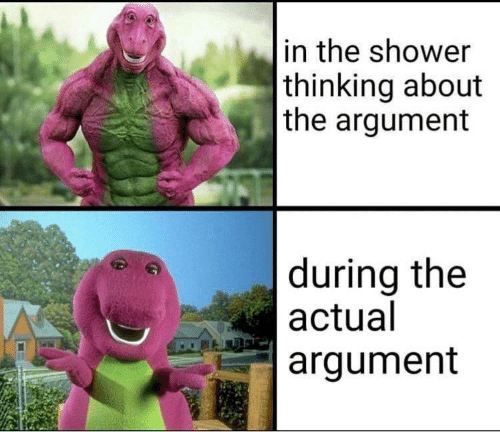 Shower, Argument, and Thinking: in the shower  thinking about  the argument  during the  actual  argument