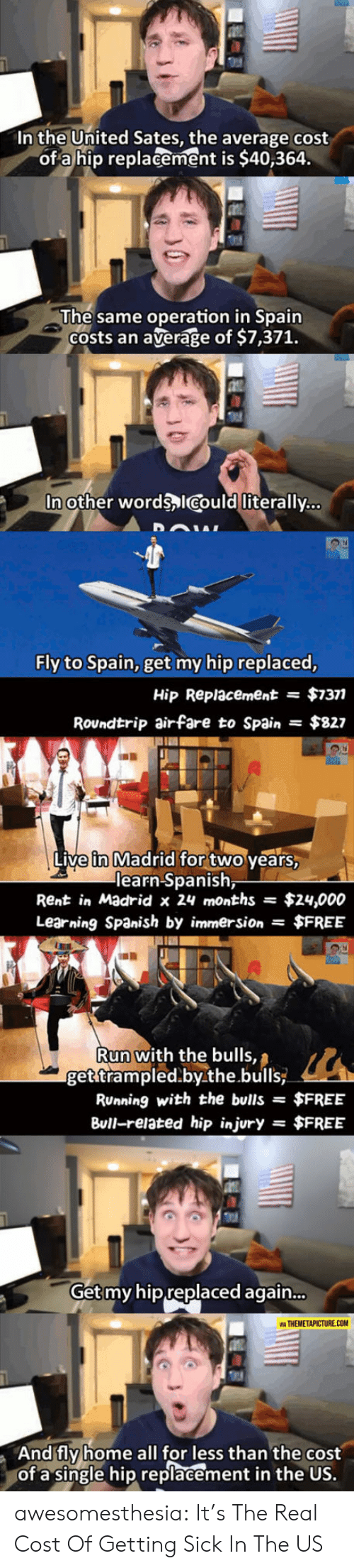 madrid: In the United Sates, the average cost  of a hip replacement is $40,364.  The same operation in Spain  Costs an  average of $7,371.  In other words ICould literally...  Fly to Spain, get my hip replaced,  $7377  Hip Replacement  =  Roundtrip airfare to Spain  $827  Live in Madrid for two years,  learn Spanish,  Rent in Madrid x 24 months  $24,000  Learning Spanish by immersion $FREE  Run with the bulls,  get trampled.by.the.bulls  RUnning with the bulls =  $FREE  Bull-related hip injury  $FREE  =  Get my hip replaced again...  VIA THEMETAPICTURE.COM  And fly home all for less than the cost  of a single hip replacement in the US. awesomesthesia:  It's The Real Cost Of Getting Sick In The US