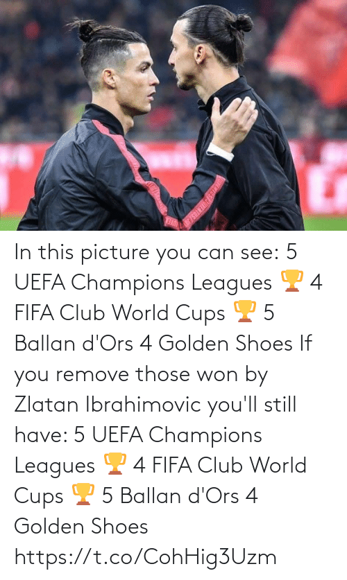If You: In this picture you can see:  5 UEFA Champions Leagues 🏆 4 FIFA Club World Cups 🏆 5 Ballan d'Ors 4 Golden Shoes   If you remove those won by Zlatan Ibrahimovic you'll still have:   5 UEFA Champions Leagues 🏆 4 FIFA Club World Cups 🏆 5 Ballan d'Ors 4 Golden Shoes https://t.co/CohHig3Uzm