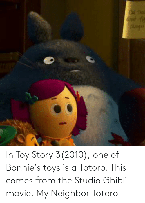 Toys: In Toy Story 3(2010), one of Bonnie's toys is a Totoro. This comes from the Studio Ghibli movie, My Neighbor Totoro