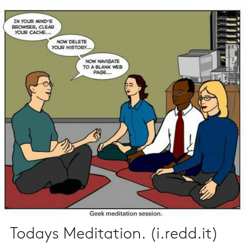 Cache: IN YOUR MIND'S  BROWSER, CLEAR  YOUR CACHE...  NOW DELETE  YOUR HISTORY.  NOW NAMGATE  TO A BLANK WEB  PAGE...  Geek meditation session. Todays Meditation. (i.redd.it)
