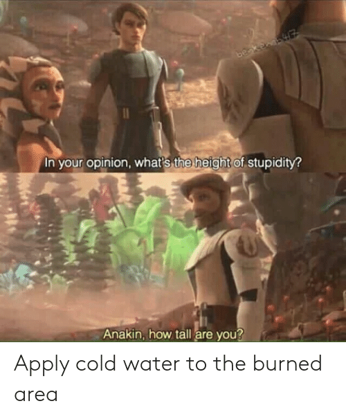The Height Of: In your opinion, whats the height of stupidity  Anakin, how tall are you? Apply cold water to the burned area
