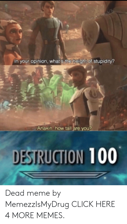 The Height Of: In your opinion, what's the height of stupidity?  k Howren  Anakin, how tall are you?  DESTRUCTION 100 Dead meme by MemezzIsMyDrug CLICK HERE 4 MORE MEMES.