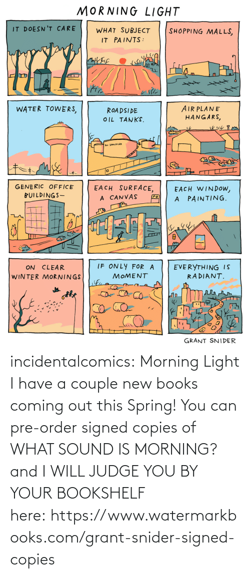 order: incidentalcomics: Morning Light I have a couple new books coming out this Spring! You can pre-order signed copies of WHAT SOUND IS MORNING? and I WILL JUDGE YOU BY YOUR BOOKSHELF here: https://www.watermarkbooks.com/grant-snider-signed-copies