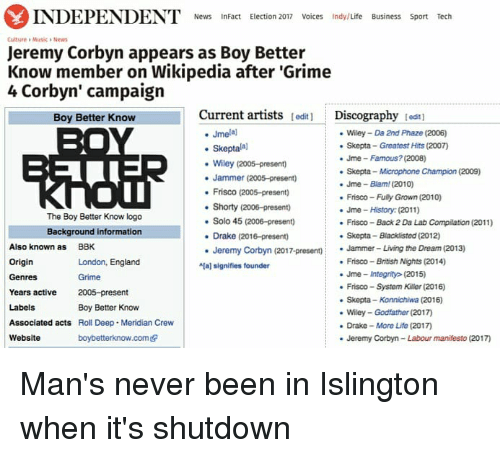 "wiley: INDEPENDENT News  InFact Election 2017 Voices Indy/Life Business Sport Tech  Culture Musica News  Jeremy Corbyn appears as Boy Better  Know member on Wikipedia after ""Grime  4 Corbyn' campaign  Current artists  lediti Discography  tedt1  Boy Better Know  Jmelal  Wiley Da 2nd Phaze (2006)  skepta Greatest Hits (2007)  Skepta  Jme Famous? (2008)  Wiley (2005-present)  Skepta Microphone Champion (2009)  Jammer (2005-present)  Jme Blam (2010)  Frisco (2005-presento  Frisco-Fuly Grown (2010)  Shorty (2006-present)  Jme History (2011)  The Boy Better Know logo  Solo 45 (2006-presen)  Frisco Back 2 Da Lab Compilation (2011)  Background information  Drake (2016-present)  Skepta-Blacklisted (2012)  Also known as  BBK  Jeremy Corbyn (2017-present)  Jammer- Living the Dream (2013)  Origin  Frisco British Nights (2014)  London, England  aj signifies founder  Jme integrity (2015)  Genres  Frisco System Killer (2016)  Years active  2005-preset  nt  Skepta-Konnichiwa (2016)  Labels  Boy Better Know  Wiley Godfather (2017  Associated acts  Roll Deep. Meridian Crew  Drake More Life (2017  Website  boybetterknow.comedr  Jeremy Corbyn-Labour manifesto (2017) Man's never been in Islington when it's shutdown"