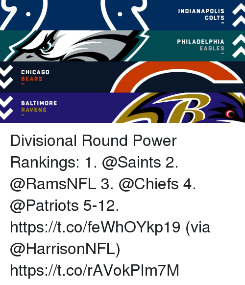Baltimore Ravens, Chicago, and Chicago Bears: INDIANAPOLIS  COLTS  PHILADELPHIA  EAGLES  CHICAGO  BEARS  BALTIMORE  RAVENS Divisional Round Power Rankings:  1. @Saints 2. @RamsNFL 3. @Chiefs 4. @Patriots 5-12. https://t.co/feWhOYkp19 (via @HarrisonNFL) https://t.co/rAVokPIm7M