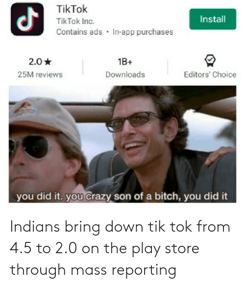 store: Indians bring down tik tok from 4.5 to 2.0 on the play store through mass reporting