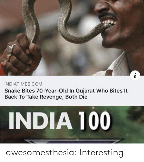 Revenge: INDIATIMES.COM  Snake Bites 70-Year-Old In Gujarat Who Bites It  Back To Take Revenge, Both Die  INDIA 100 awesomesthesia:  Interesting