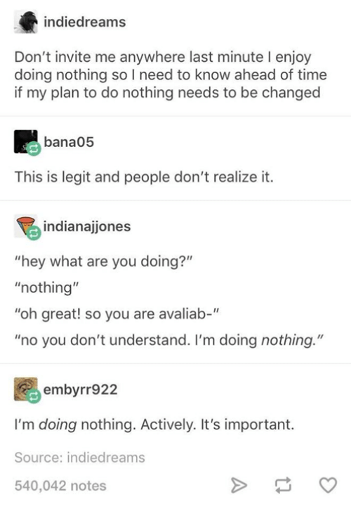 "Funny, Tumblr, and Time: indiedreams  Don't invite me anywhere last minute I enjoy  doing nothing so I need to know ahead of time  if my plan to do nothing needs to be changed  bana05  This is legit and people don't realize it.  indianajjones  ""hey what are you doing?""  ""nothing""  ""oh great! so you are avaliab-""  ""no you don't understand. I'm doing nothing.""  embyrr922  I'm doing nothing. Actively. It's important.  Source: indiedreams  540,042 notes  tl"