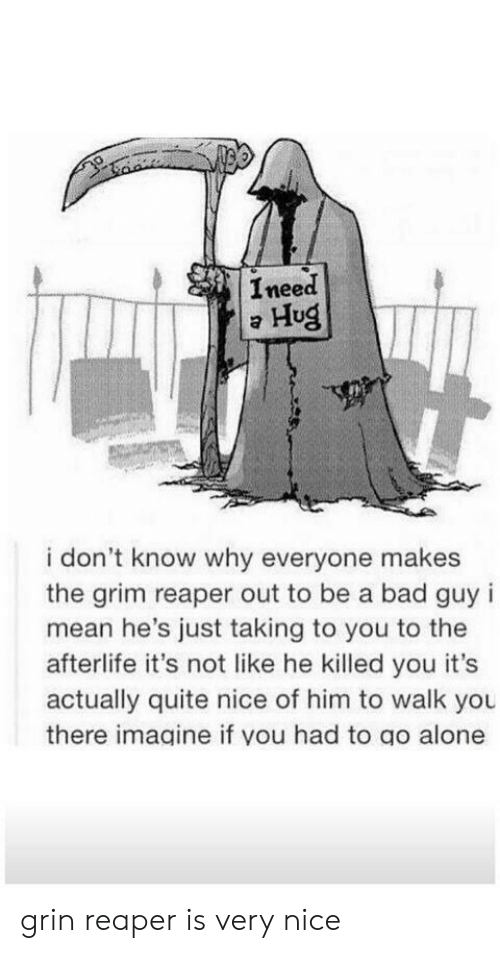 Being Alone, Bad, and Mean: Ineed  Hug  i don't know why everyone makes  the grim reaper out to be a bad guy i  mean he's just taking to you to the  afterlife it's not like he killed you it's  actually quite nice of him to walk you  there imagine if you had to go alone grin reaper is very nice
