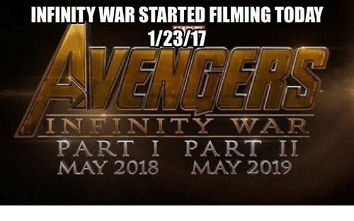 Tets: INFINITY WAR STARTED FILMING TODAY  1/23/11  IN TET I NITY WTA R.  PART I PART II  MAY 2018 MAY 2019