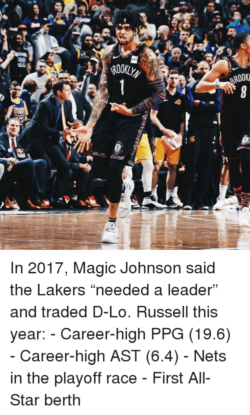 """ppg: infor  ROOK  2t In 2017, Magic Johnson said the Lakers """"needed a leader"""" and traded D-Lo.  Russell this year: - Career-high PPG (19.6) - Career-high AST (6.4) - Nets in the playoff race - First All-Star berth"""