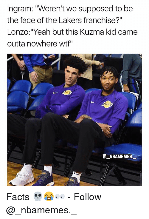 "Facts, Los Angeles Lakers, and Memes: Ingram: ""Weren't we supposed to be  the face of the Lakers franchise?""  Lonzo:""Yeah but this Kuzma kid came  outta nowhere wtf""  ATR  NBAMEMES Facts 💀😂👀 - Follow @_nbamemes._"
