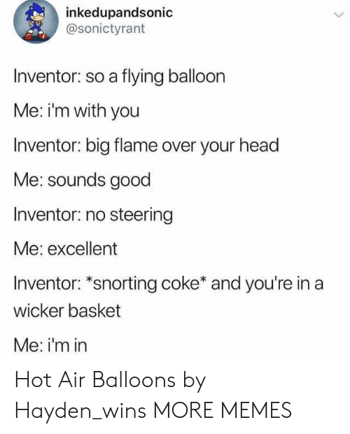 Dank, Head, and Memes: inkedupandsonic  @sonictyrant  Inventor: so a flying balloon  Me: im with you  Inventor: big flame over your head  Me: sounds good  Inventor: no steering  Me: excellent  Inventor: *snorting coke* and you're in a  wicker basket  Me: i'm in Hot Air Balloons by Hayden_wins MORE MEMES