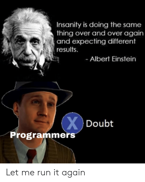 Einstein: Insanity is doing the same  thing over and over again  and expecting different  results  Albert Einstein  XDoubt  Programmers Let me run it again
