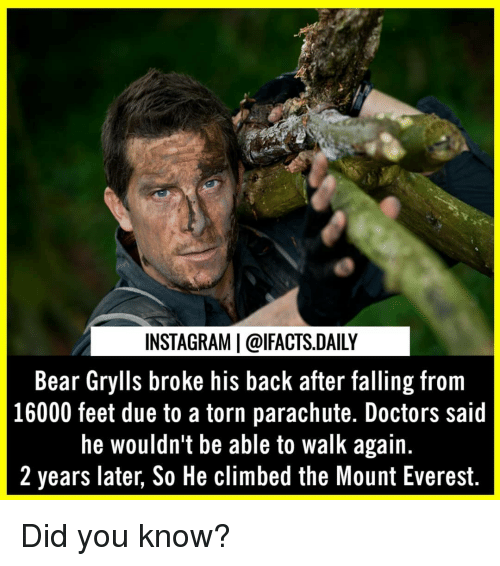 everest: INSTAGRAM | @lFACTS.DAILY  Bear Grylls broke his back after falling from  16000 feet due to a torn parachute. Doctors said  he wouldn't be able to walk again.  2 years later, So He climbed the Mount Everest. Did you know?