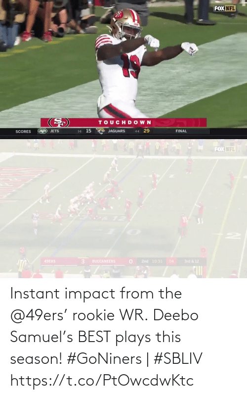 impact: Instant impact from the @49ers' rookie WR.  Deebo Samuel's BEST plays this season!   #GoNiners | #SBLIV https://t.co/PtOwcdwKtc