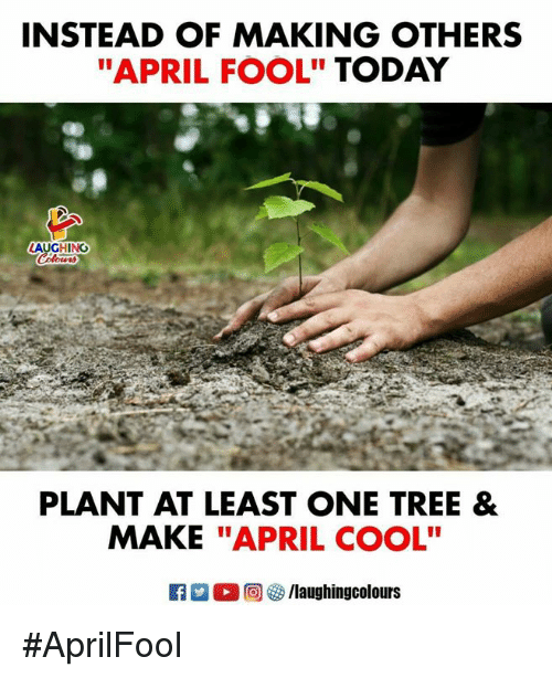 "Cool, Today, and Tree: INSTEAD OF MAKING OTHERS  ""APRIL FOOL"" TODAY  LAUGHING  PLANT AT LEAST ONE TREE &  MAKE ""APRIL COOL"" #AprilFool"