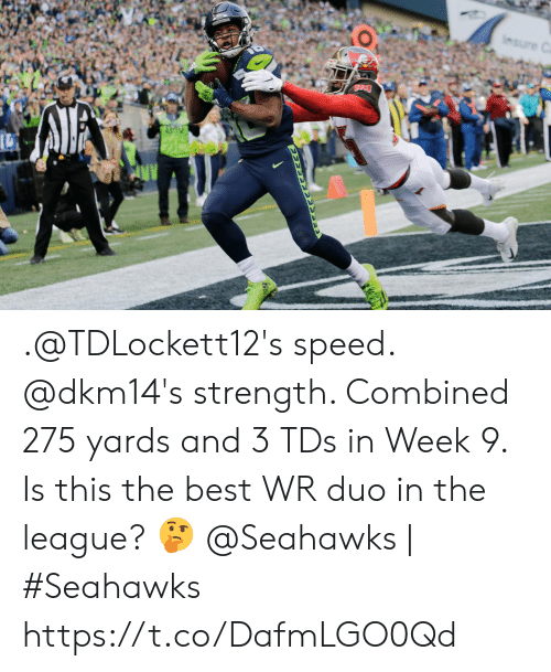 The League: Insure C .@TDLockett12's speed. @dkm14's strength.   Combined 275 yards and 3 TDs in Week 9. Is this the best WR duo in the league? 🤔  @Seahawks | #Seahawks https://t.co/DafmLGO0Qd