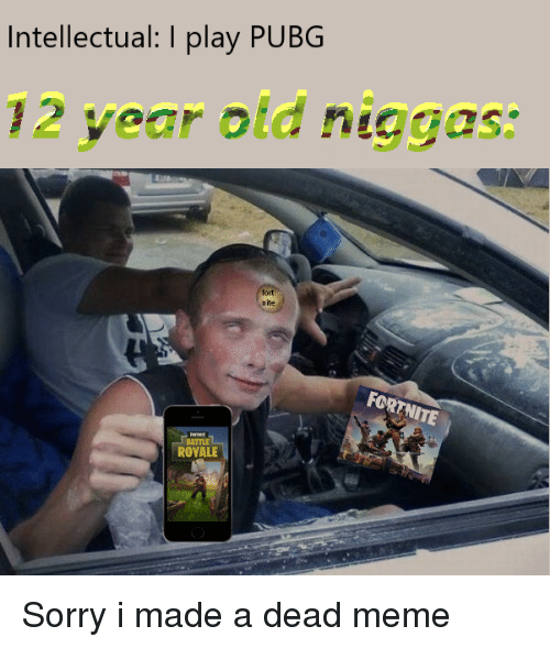 Intellectual Meme: Intellectual I Play PUBG 12 Year Old Niggas Fort Nite FOR