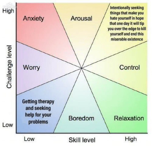 over the edge: Intentionally seeking  things that make you  hate yourself in hope  that one day it will tip  you over the edge to kill  yourself and end this  miserable existence  High  Anxiety  Arousal  2Worry  Control  Getting therapy  and seeking  help for yourBoredom  0  Relaxation  problems  Low  Low  Skill level  High
