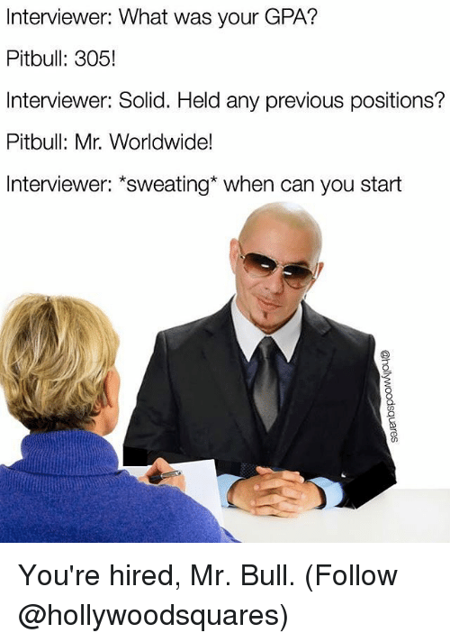 mr worldwide: Interviewer: What was your GPA?  Pitbull: 305!  Interviewer: Solid. Held any previous positions?  Pitbull: Mr. Worldwide!  Interviewer: sweating when can you start You're hired, Mr. Bull. (Follow @hollywoodsquares)