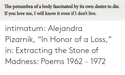 """Loss: intimatum: Alejandra Pizarnik,""""In Honor of a Loss,"""" in: Extracting the Stone of Madness: Poems 1962 - 1972"""