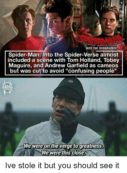"Spider, SpiderMan, and Tobey Maguire: INTO THE SPIDERVERSE  Spider-Man: Into the Spider-Verse almost  included a scene with Tom Holland, Tobey  Maguire, and Andrew Garfield as cameos  but was cut to avoid ""confusing people""  ANTA  We were on the verge to greatnesS.  We were this close. Ive stole it but you should see it"