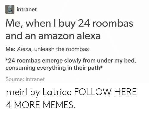 unleash: intranet  Me, when I buy 24 roombas  and an amazon alexa  Me: Alexa, unleash the roombas  *24 roombas emerge slowly from under my bed,  consuming everything in their path*  Source: intranet meirl by Latricc FOLLOW HERE 4 MORE MEMES.