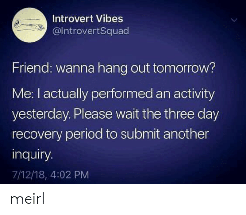 hang out: Introvert Vibes  @IntrovertSquad  Friend: wanna hang out tomorrow?  Me: I actually performed an activity  yesterday. Please wait the three day  recovery period to submit another  inquiry.  7/12/18, 4:02 PM meirl