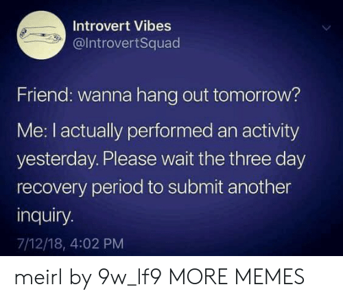 hang out: Introvert Vibes  @IntrovertSquad  Friend: wanna hang out tomorrow?  Me: I actually performed an activity  yesterday. Please wait the three day  recovery period to submit another  inquiry.  7/12/18, 4:02 PM meirl by 9w_lf9 MORE MEMES