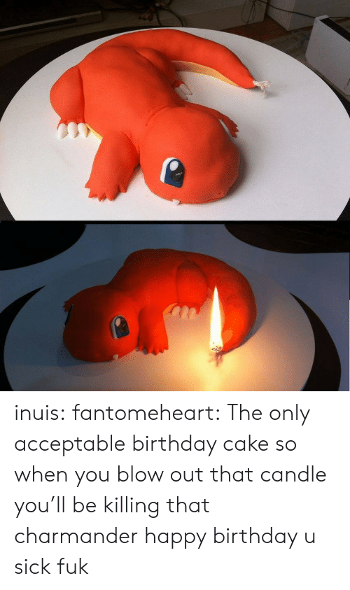 blow out: inuis:  fantomeheart:  The only acceptable birthday cake  so when you blow out that candle you'll be killing that charmander happy birthday u sick fuk