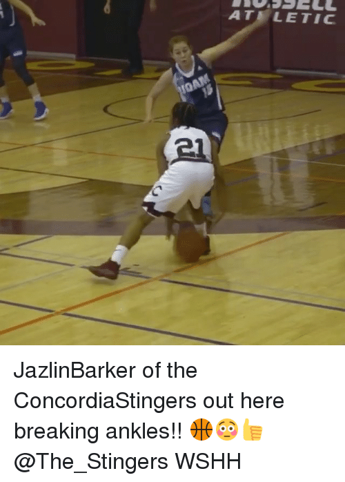 breaking ankles: IOAM  ATE LE TIC JazlinBarker of the ConcordiaStingers out here breaking ankles!! 🏀😳👍 @The_Stingers WSHH