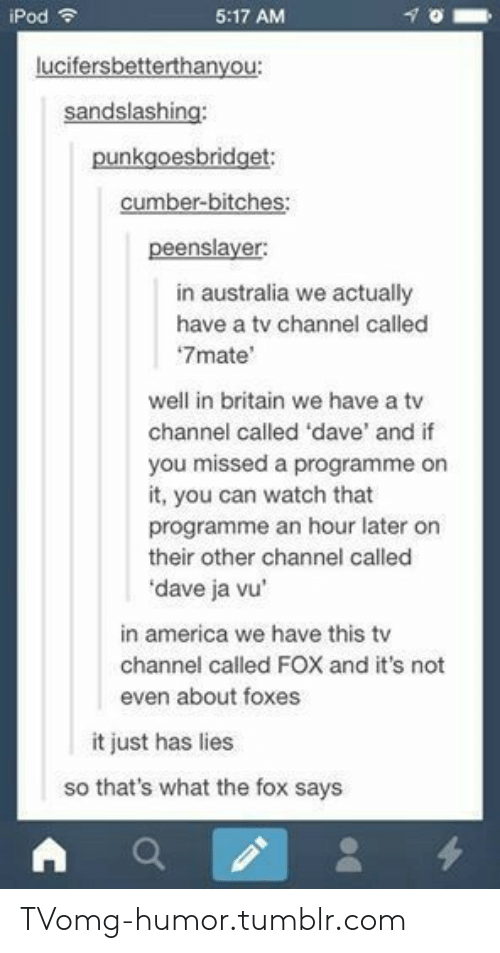 tv channel: iPod  5:17 AM  in australia we actually  have a tv channel called  7mate'  well in britain we have a tv  channel called 'dave' and if  you  it, you can watch that  programme an hour later on  their other channel called  dave ja vu  missed a programme on  in america we have this tv  channel called FOX and it's not  even about foxes  it just has lies  so that's what the fox says TVomg-humor.tumblr.com