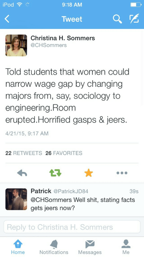 Christina H Sommers: iPod  9:18 AM  Tweet  Christina H. Sommers  @CHSommers  Told students that women could  narrow wage gap by changing  majors from, say, sociology to  engineering. Room  erupted.Horrified gasps & jeers.  4/21/15, 9:17 AM  22 RETWEETS 26 FAVORITES  Patrick @PatrickJD84  @CHSommers Well shit, stating facts  gets jeers now?  39s  Reply to Christina H. Sommers  Home  Notifications Messages  Me