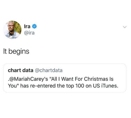 "All I Want for Christmas is You: Ira  @ira  It begins  chart data @chartdata  .@MariahCarey's ""All I Want For Christmas Is  You"" has re-entered the top 100 on US iTunes."