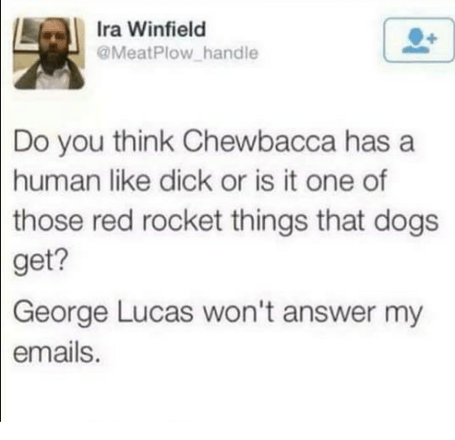 George Lucas: Ira Winfield  @MeatPlow handle  Do you think Chewbacca has a  human like dick or is it one of  those  red rocket things that dogs  get?  George  Lucas won't answer my  emails.